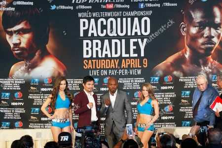 Manny Pacquiao, Timothy Bradley Jr Manny Pacquiao, center left, and Timothy Bradley Jr. pose during a news conference in Beverly Hills, Calif., on . Pacquiao and Bradley are scheduled to fight on April 9 in Las Vegas for Bradley's WBO welterweight title