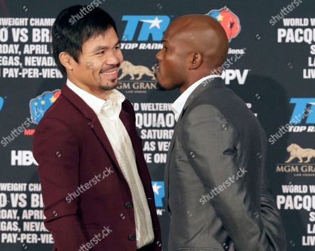 Manny Pacquiao, Timothy Bradley Jr Manny Pacquiao and Timothy Bradley Jr. pose during a news conference in Beverly Hills, Calif., on . Pacquiao and Bradley are scheduled to fight on April 9, 2016, in Las Vegas for Bradley's WBO welterweight title