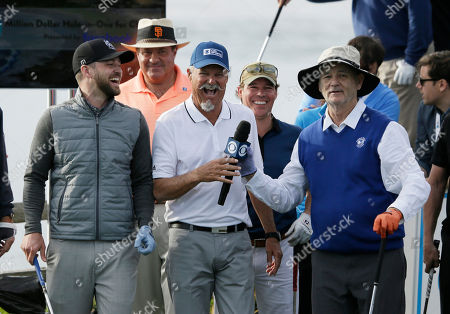 Justin Timberlake, Chris Berman, Gary McCord, Clay Walker, Bill Murray From left, Justin Timberlake, Chris Berman, Gary McCord, Clay Walker and Bill Murray laugh on the seventh tee of the Pebble Beach Golf Links during the inaugural $1 million celebrity hole-in-one event of the AT&T Pebble Beach National Pro-Am golf tournament, in Pebble Beach, Calif