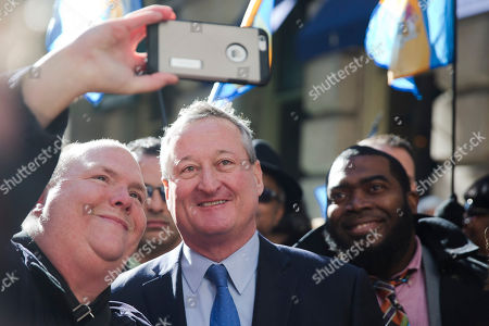 Jim Kenney Newly sworn in Philadelphia Mayor Jim Kenney, center, stops for a selfie as he takes the sidewalk from his inauguration to City Hall, in Philadelphia. The 57-year-old Kenney succeeds Michael Nutter, who leaves office after two terms. Kenney served on city council for more than two decades before he was elected in November