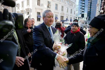 Jim Kenney Newly sworn in Philadelphia Mayor Jim Kenney greets immigration advocates after his inauguration, in Philadelphia. The 57-year-old Kenney succeeds Michael Nutter, who leaves office after two terms. Kenney served on city council for more than two decades before he was elected in November