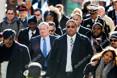 Jim Kenney Newly sworn in Philadelphia Mayor Jim Kenney, center left, takes the sidewalk from his inauguration to City Hall, in Philadelphia. The 57-year-old Kenney succeeds Michael Nutter, who leaves office after two terms. Kenney served on city council for more than two decades before he was elected in November