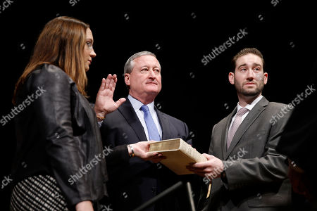 Jim Kenney Jim Kenney, center, is inaugurated as the city's 99th mayor, at the Academy of Music in Philadelphia. The 57-year-old Kenney succeeds Michael Nutter, who leaves office after two terms. Kenney served on city council for more than two decades before he was elected in November. Kenney is accompanied by his children Nora and Brendan and was sworn in by Judge Kevin Dougherty