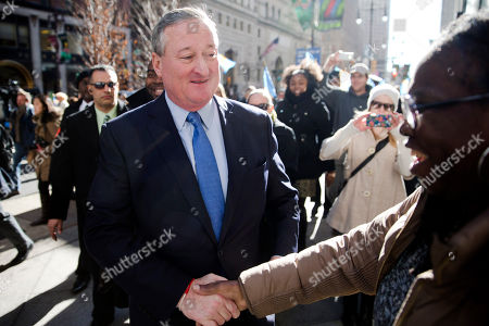 Jim Kenney Newly sworn in Philadelphia Mayor Jim Kenney, left, greets a woman as he takes the sidewalk from his inauguration to City Hall, in Philadelphia. The 57-year-old Kenney succeeds Michael Nutter, who leaves office after two terms. Kenney served on city council for more than two decades before he was elected in November