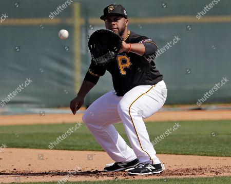 Pittsburgh Pirates first baseman Jason Rogers during a spring training baseball workout, in Bradenton, Fla