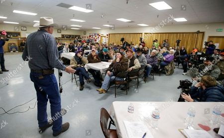 Tim Smith Committee member Tim Smith speaks during the Harney County committee of safety town hall called to discuss the occupation of the Malheur National Wildlife Refuge, in Burns, Ore
