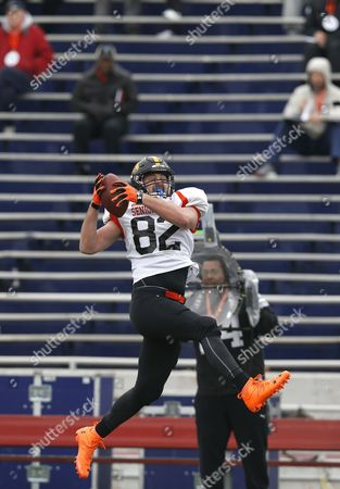 Henry Krieger-Coble Iowa tight end Henry Krieger-Coble (82), runs through drills during NCAA college football practice for the Senior Bowl, at Ladd-Peebles Stadium, in Mobil, Ala