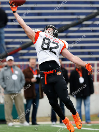 Krieger-Coble Iowa tight end Henry Krieger-Coble stretches to catch a ball during drill at the NCAA college football practice for the Senior Bowl, at Ladd-Peebles Stadium, in Mobile, Ala