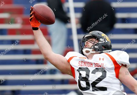 Henry Krieger-Coble Iowa tight end Henry Krieger-Coble stretches to catch a ball during drill at the NCAA college football practice for the Senior Bowl, at Ladd-Peebles Stadium, in Mobile, Ala