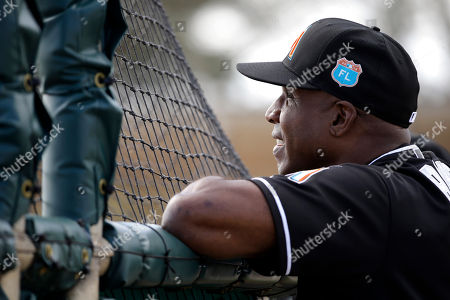 Barry Bonds Miami Marlins hitting coach Barry Bonds watches spring training baseball batting practice in Jupiter, Fla. Marlins slugger Giancarlo Stanton and Bonds showed off their home run prowess at spring training. What began as an exercise in hitting breaking balls Wednesday, March 16, evolved into Stanton and the home run king teeing off for homers on the back fields at the Roger Dean Stadium