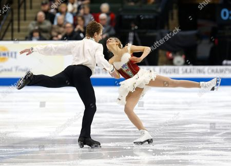Stock Picture of Danielle Thomas, Daniel Eaton Danielle Thomas and Daniel Eaton compete in the championship free dance program of the U.S. Figure Skating Championships, in St. Paul, Minn