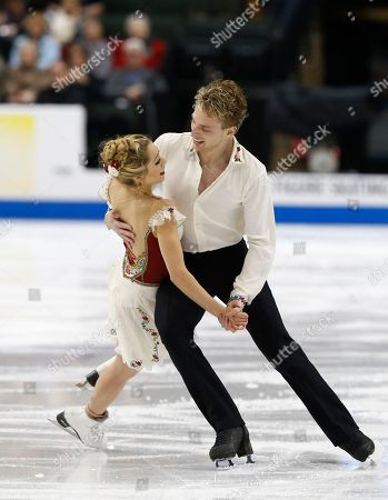 Stock Image of Danielle Thomas, Daniel Eaton Danielle Thomas and Daniel Eaton compete in the championship free dance program of the U.S. Figure Skating Championships, in St. Paul, Minn