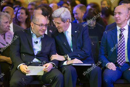 Jason Rezaian, John Kerry, Jeff Bezos Secretary of State John Kerry, accompanied by Washington Post owner and Amazon CEO Jeff Bezos, right, talks with freed Washington Post reporter Jason Rezaian, left, during an opening ceremony for the new headquarters of The Washington Post, in Washington
