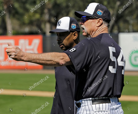 Rich Gossage, Willie Randolph New York Yankees special instructor Rich Gossage (54) talks to instructor Willie Randolph during a spring training baseball workout, in Tampa, Fla