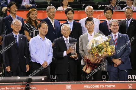 (L-R) Nobuo Kuroyanagi, Michael Chang, Masaaki Morita, Kei Nishikori, David Haggerty