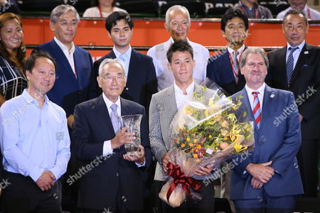 (L-R) Michael Chang, Masaaki Morita, Kei Nishikori, David Haggerty