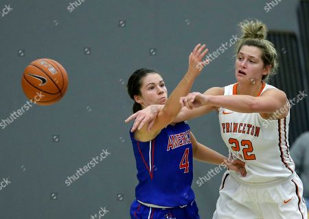 Taylor Williams, Michelle Holmes American University guard Emily Kinneston (4) tries to block a pass by Princeton forward Taylor Williams (22) during the second half of an NCAA college basketball game, in Princeton, N.J