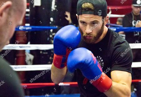Boxing Long Island's welterweight boxer Chris Algieri workout at Gleason's Gym, in the Brooklyn borough of New York. Algieri will fight Ecuador's Eric Bone in a 10-round co-main event during Showtime championship boxing at Barclays Center, Saturday Dec. 5