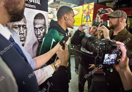 Stock Picture of Boxing Brooklyn's middleweight boxer Daniel Jacobs speaks with reporters at Gleason's Gym, in Brooklyn, N.Y. Jacobs will fight Brooklyn's Peter Quillin for the WBA World middleweight title as the main event, during Showtime championship boxing at Barclays Center, Saturday Dec. 5