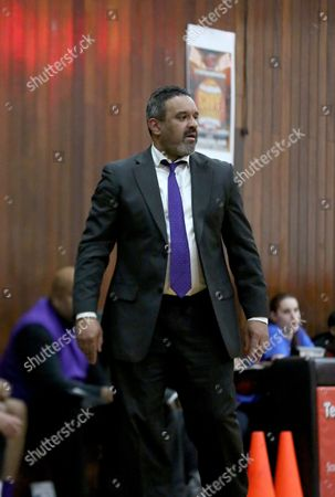 Ed Gonzalez Bishop Loughlin head coach Ed Gonzalez works the sideline against Long Island Lutheran during a high school basketball game in the City Legendz Invitational at Gauchos Gym on in the Bronx, NY. Loughlin won