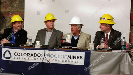 Ed Perlmutter, Cresent Hardy, Rob Bishop, Doug Lamborn U.S. Congressmen, left to right, Ed Perlmutter, D-Colo., Cresent Hardy, R-Nev., Rob Bishop, R-Utah, and Doug Lamborn, R-Colo., sit together during a House subcommittee meeting on mining engineers hosted by the Colorado School of Mines, inside the Edgar Mine, in Idaho Springs, Colo., . The subcommittee heard testimony on a bill sponsored by Nevada Republican Cresent Hardy to make sure up to $2 million a year from an existing mine program goes to training engineers