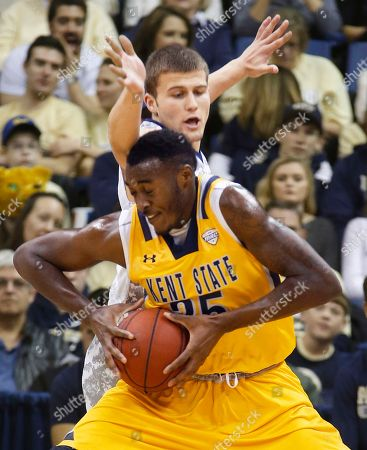 Jimmy Hall, Ryan Luther Kent State's Jimmy Hall (35) maneuvers to get around Pittsburgh's Ryan Luther who defends in the first half of an NCAA college basketball game, in Pittsburgh