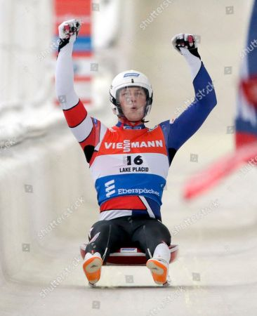 Stock Image of Aidan Kelly Aidan Kelly, of the United States, finishes his second run in the men's luge World Cup race, in Lake Placid, N.Y. He finished in eighth place