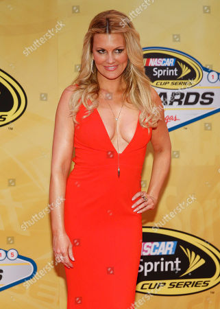 Stock Picture of Courtney Hansen poses on the red carpet before the NASCAR Sprint Cup Series auto racing awards, in Las Vegas