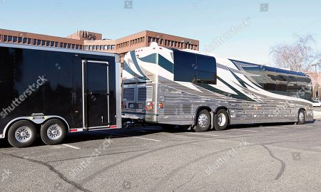The tour bus of singer Scott Weiland, the former frontman for the Stone Temple Pilots and Velvet Revolver, sits in a hotel parking lot, in Bloomington, Minn. A statement on Weiland's Facebook page said Weiland, 48, who was dogged by substance abuse problems throughout his career, died in his sleep on the bus Thursday night