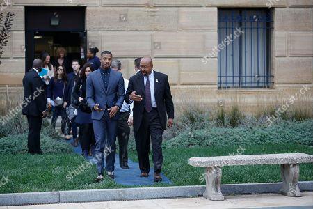 "Michael B. Jordan, Sylvester Stallone, Tessa Thompson Michael B. Jordan and Philadelphia mayor Michael Nutter walk to a press conference promoting the film ""Creed"" outside the Philadelphia Museum of Art, in Philadelphia"