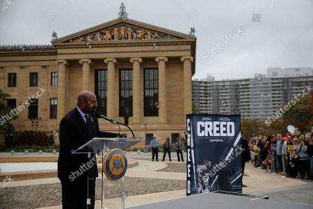 """Michael B. Jordan, Sylvester Stallone, Tessa Thompson Philadelphia mayor Michael Nutter speaks during a press conference promoting the film """"Creed"""" outside the Philadelphia Museum of Art, in Philadelphia"""
