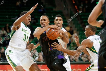 Stock Picture of Terry Maston, Al Freeman, Lester Medford, Jayrn Johnson Prairie View A&M's Jayrn Johnson (1) drives to the basket between the Baylor's Terry Maston (31), Al Freeman, rear, and Lester Medford, right, in the first half of an NCAA college basketball game, in Waco, Texas