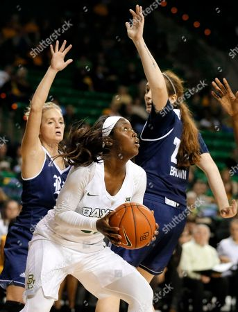 Stock Picture of Alexis Jones, Gabrielle Stanton, Courtney Brown Baylor guard Alexis Jones (30) positions for a shot as Rice's Gabrielle Stanton, left, and Courtney Brown (25) defend in the second half of an NCAA college basketball game, in Waco, Texas. Baylor won 89-38