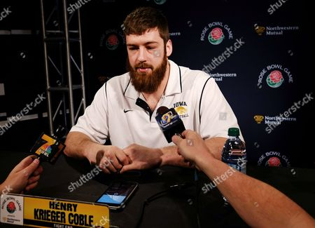 Henry Krieger Coble Tight end Henry Krieger Coble from the University of Iowa, talks to reporters after a news conference in Los Angeles, . Iowa is scheduled to play Stanford in the Rose Bowl NCAA college football game on New Year's Day