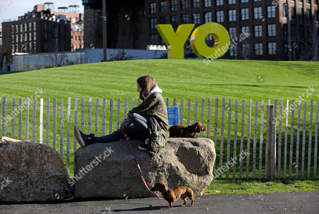 """A woman rests on a rock with her dogs as the bright yellow monumental sculpture by artist Deborah Kass dominates a hill behind her in Brooklyn Bridge Park, in New York. When viewed from Manhattan, the sculpture reads the urban slang word """"Yo,"""" but when viewed from Brooklyn, it spells the popular Yiddish expression """"Oy."""" The aluminum sculpture was commissioned by Brooklyn developer Two Trees Management Company and will remain up until August 2016"""