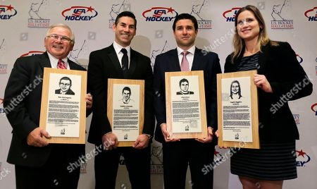 Ron DeGregorio, Chris Drury, Angela Ruggiero, Mathieu Schneider U.S. Hockey Hall of Fame Class of 2015 pose for a photograph prior to the induction ceremony in Boston, . From left to right are USA hockey's Ron DeGregorio, NHL All-Star Mathieu Schneider, NHL great Chris Drury and four-time Olympic medalist Angela Ruggiero