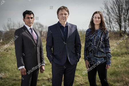 Stock Photo of Malik Nadir - Ace Bhatti] , Steve Richards - Shaun Dooley] and Tamsin - Maimie McCoy