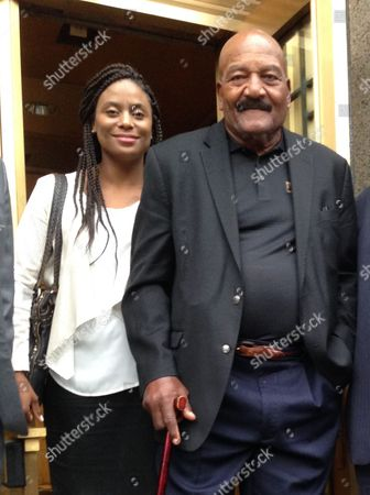 Monique Brown, Jim Brown Cleveland Browns Hall of Fame running back Jim Brown, right, leaves Manhattan federal court in New York with his wife, Monique, after settling a lawsuit with memorabilia dealer over his long lost 1964 championship ring, . The 79-year-old Brown will be reunited with the ring that was stolen from his home in 1966