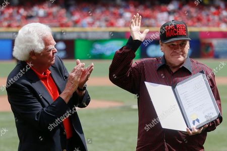 "Pete Rose, David Mann Former Cincinnati Reds' great Pete Rose, right, waves alongside Vice Mayor David Mann on the field at Great American Ball Park before a baseball game between the Cincinnati Reds and the St. Louis Cardinals, in Cincinnati. During a brief ceremony, the City of Cincinnati declared Sept. 12, 2015 ""Pete Rose Day"