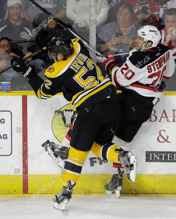 Matt Irwin, Lee Stempniak Boston Bruins defenseman Matt Irwin, left, and New Jersey Devils right wing Lee Stempniak, right, collide during the first period of an NHL preseason hockey game, in Providence, R.I. The Bruins won 2-0