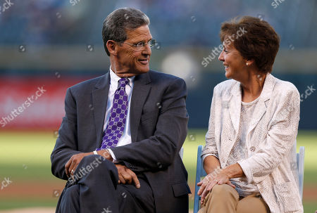 George, Kay Frazier Colorado Rockies television color analyst George Frazier, left, jokes with his wife, Kay, during a ceremony to mark his retirement from the booth before the Colorado Rockies host the Los Angeles Dodgers in the first inning of a baseball game, in Denver
