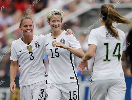 Megan Rapinoe United States' Megan Rapinoe, center and Christie Rampone celebrate a goal in the first half during the US Women's World Cup victory tour, in Birmingham, Ala