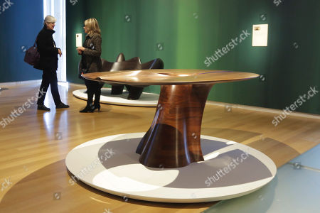 """Dining Table Dining Table,"""" part of the Wendell Castle Remastered exhibit, is displayed at the Museum of Arts and Design, in New York. The museum show explores the recent work of Wendell Castle, 83, sometimes called the father (or grandfather) of the American art furniture movement for pieces that are both sculpture and furniture"""