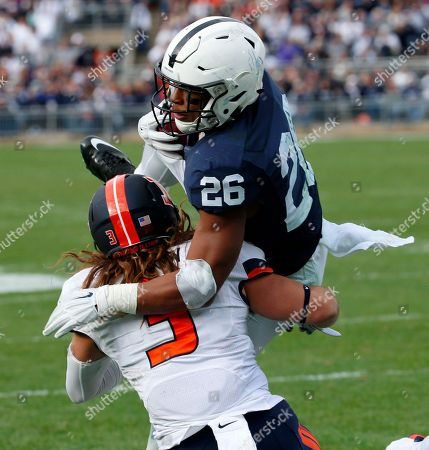 Saquon Barkley, Taylor Barton Penn State running back Saquon Barkley (26) dives over Illinois defensive back Taylor Barton (3) for a touchdown during the second half of an NCAA college football game in State College, Pa., . Penn State won 39-0