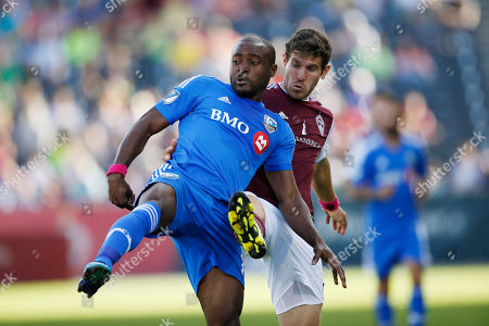 Nigel Reo-Coker, Dillon Powers Montreal Impact midfielder/defender Nigel Reo-Coker (14) and Colorado Rapids midfielder Dillon Powers (8) in the first half of a MLS soccer match in Commerce City, Colo