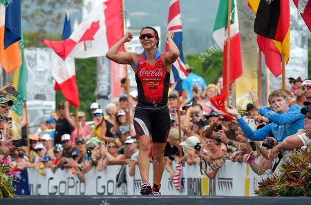 Rachel Joyce Rachel Joyce, of Great Britain, celebrates as she takes second in the Women's portion of the Ironman World Championship Triathlon, in Kailua-Kona, Hawaii