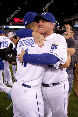 Ned Yost Kansas City Royals manager Ned Yost and Jeremy Guthrie celebrate after their baseball game against the Seattle Mariners, in Kansas City, Mo. The Royals won 10-4 to clinch the AL Central division
