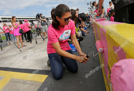MIa Hamm Soccer legend Mia Hamm helps breast cancer survivors and NASCAR drivers as they paint the pit road wall pink as part of the upcoming Xfinity series Drive for the Cure 300 race at Charlotte Motor Speedway in Concord, N.C