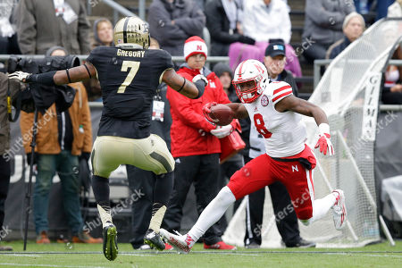 Stanley Morgan Jr., Robert Gregory Nebraska wide receiver Stanley Morgan Jr. (8) cuts in front of Purdue safety Robert Gregory (7) to score a touchdown during the first half of an NCAA college football game in West Lafayette, Ind