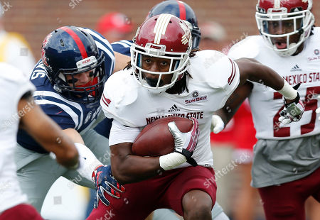 Gregory Hogan New Mexico State wide receiver Gregory Hogan (2) runs past Mississippi linebacker Luke Davis (37) for a short gain in the first half of an NCAA college football game in Oxford, Miss., . No. 14 Mississippi won 52-3